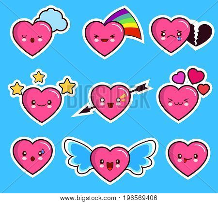 funny heart emoticon icon set valentine s day. kawaii. Flat design Vector Illustration