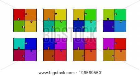 abstract colored puzzle set - red orange yellow green blue purple and violet