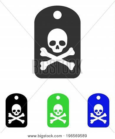 Death Sticker vector icon. Illustration style is a flat iconic colored symbol with different color versions.