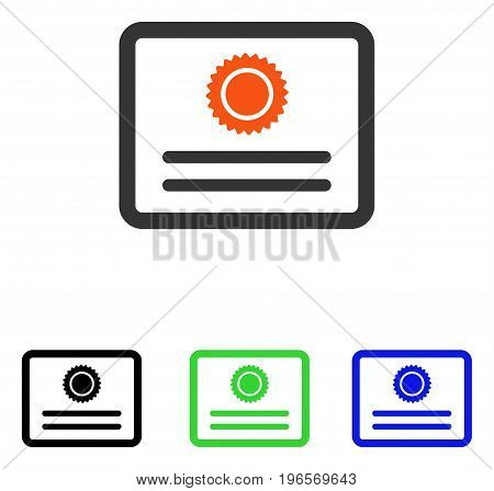 Diploma vector icon. Illustration style is a flat iconic colored symbol with different color versions.