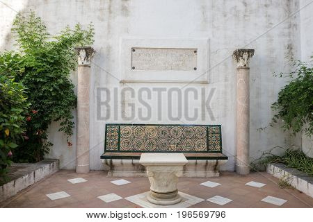 Marble Bench With Pillars In Seville, Spain, Europe