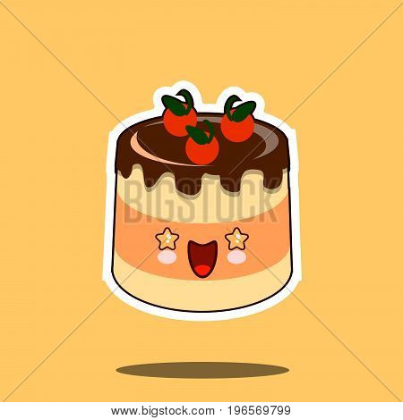 cake kawaii character cartoon emoticon face icon. Flat design Vector Illustration