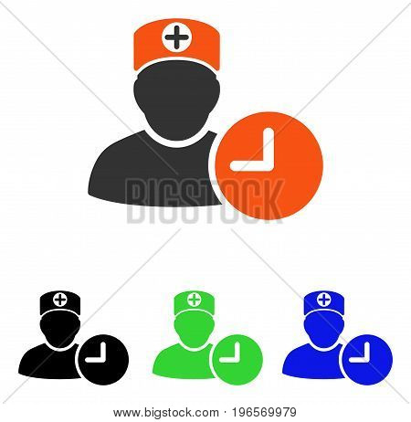 Doctor Schedule Clock vector pictograph. Illustration style is a flat iconic colored symbol with different color versions.