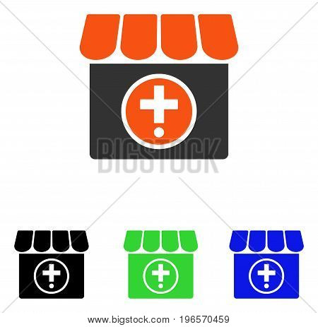 Drugstore vector pictograph. Illustration style is a flat iconic colored symbol with different color versions.