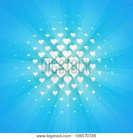 White hearts halftone design element. Retro style vector illustration