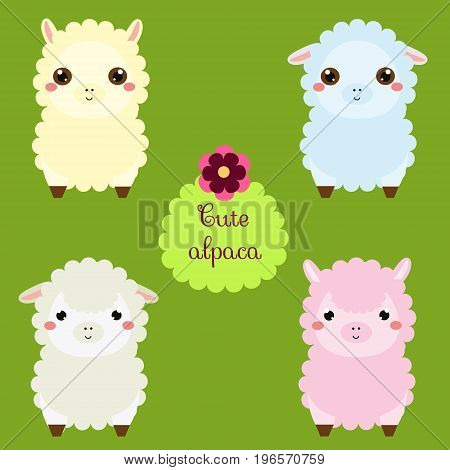 Cute lamas. Cartoon llama characters. Happy kawaii alpaca. Vector illustration for kids and babies fashion. Animals Stickers
