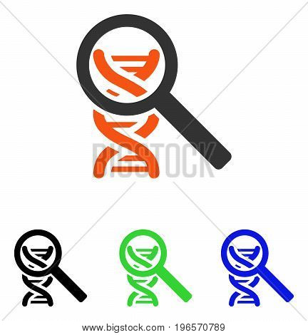 Explore DNA vector icon. Illustration style is a flat iconic colored symbol with different color versions.
