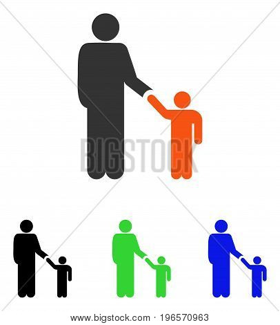 Father With Son vector pictogram. Illustration style is a flat iconic colored symbol with different color versions.
