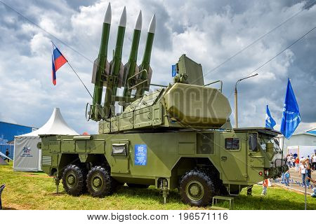 Moscow Region - July 21, 2017: The Buk-M2 russian missile system at the International Aviation and Space Salon (MAKS).