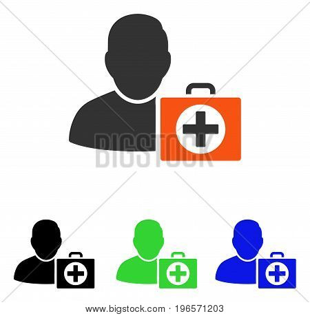 First Aid Man vector pictogram. Illustration style is a flat iconic colored symbol with different color versions.