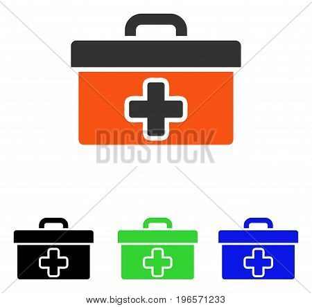 First Aid Toolbox vector pictograph. Illustration style is a flat iconic colored symbol with different color versions.