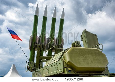 The Buk-M2 russian missile system on the dramatic sky background