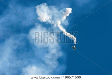 Moscow Region - July 21, 2017: Aerobatic display plane from the United Arab Emirates team at the International Aviation and Space Salon (MAKS) in Zhukovsky.