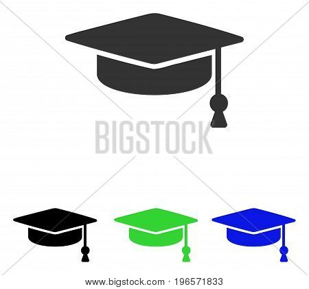 Graduation Cap vector icon. Illustration style is a flat iconic colored symbol with different color versions.