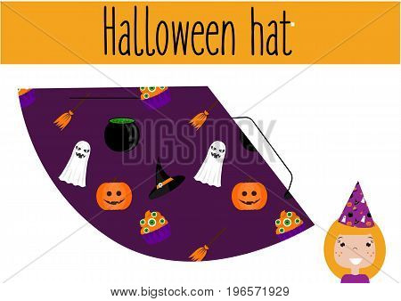 DIY children educational game. Do it yourself handmade creative tutorial for kids. Make a Halloween party hat. Printable Sheet