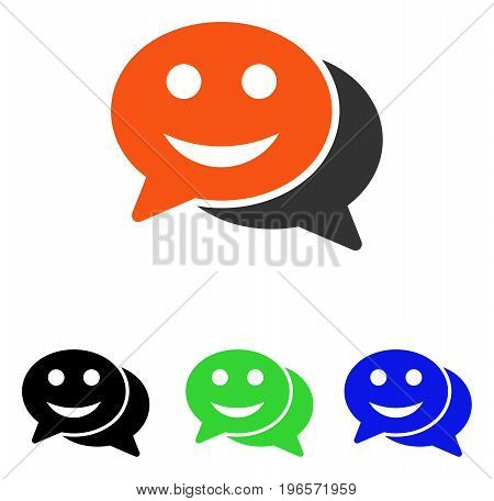 Happy Chat vector pictograph. Illustration style is a flat iconic colored symbol with different color versions.