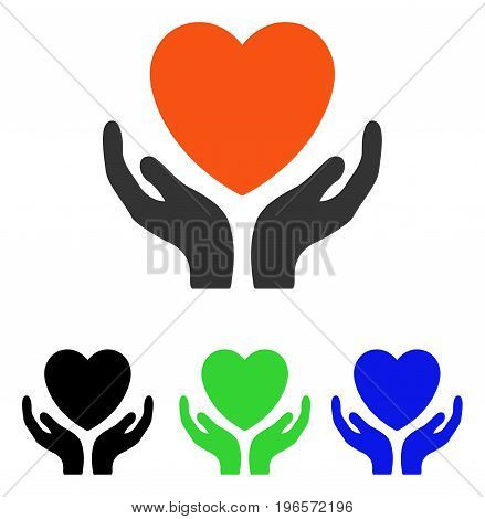 Heart Care vector pictograph. Illustration style is a flat iconic colored symbol with different color versions.