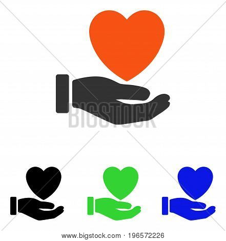 Heart Charity vector pictogram. Illustration style is a flat iconic colored symbol with different color versions.