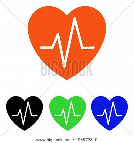 Heart EKG vector pictogram. Illustration style is a flat iconic colored symbol with different color versions.