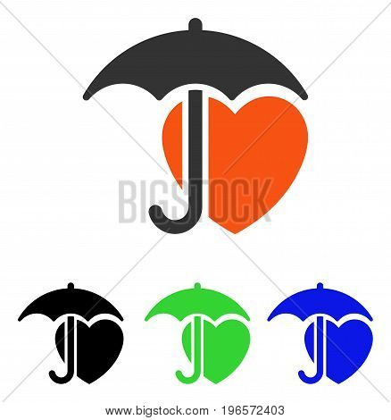 Heart Protection vector pictogram. Illustration style is a flat iconic colored symbol with different color versions.