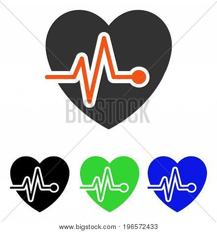 Heart Pulse vector pictogram. Illustration style is a flat iconic colored symbol with different color versions.