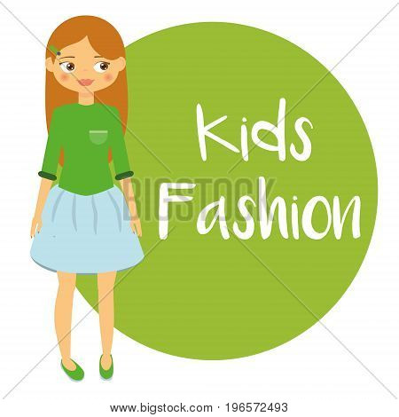 Beautiful Girl in blue skirt. Kids fashion background. Cartoon child. Vector illustration