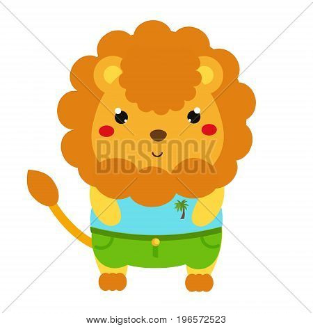 Cute lion. Kawaii cartoon animal character in clothes. Vector illustration for kids and babies fashion