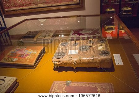 Italy Siena - December 26 2016: an ancient book is an antique historical archives of museo dell'Opera metropolitana del Duomo on December 26 2016 in Siena Tuscany Italy.