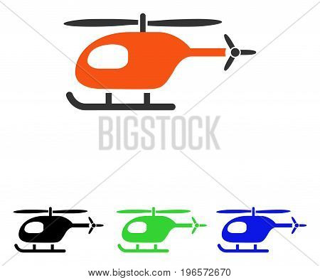 Helicopter vector icon. Illustration style is a flat iconic colored symbol with different color versions.