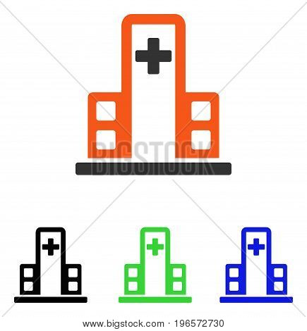 Hospital Building vector pictogram. Illustration style is a flat iconic colored symbol with different color versions.