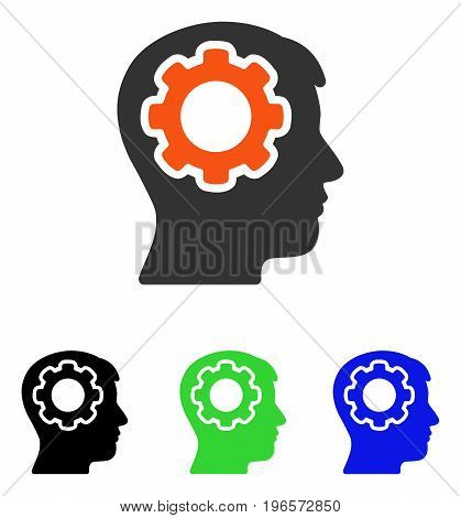 Human Mind vector pictogram. Illustration style is a flat iconic colored symbol with different color versions.