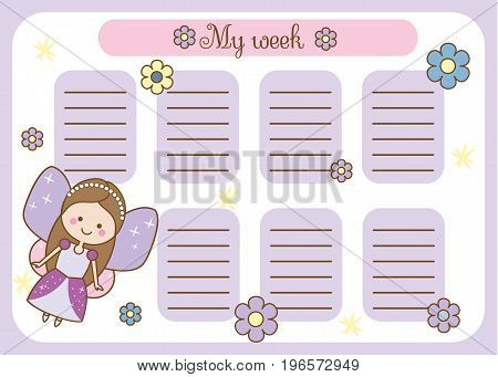 Kids timetable with cute fairy character. Weekly planner for children girls. School schedule design template. Vector illustration