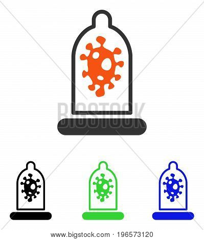 Infection Protection vector icon. Illustration style is a flat iconic colored symbol with different color versions.
