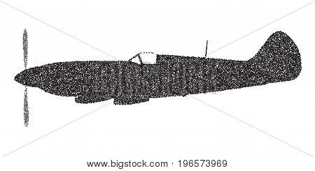 A Supermarine World War II Spitfire Mark XIV fighter plane in dotted silhouette