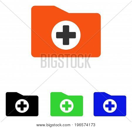 Medical Folder vector icon. Illustration style is a flat iconic colored symbol with different color versions.