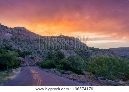 Sunset And Road At Palo Duro