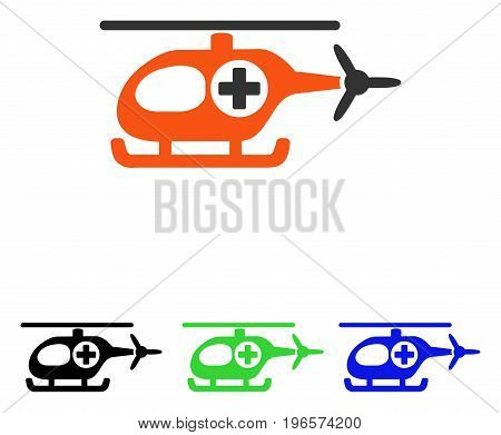 Medical Helicopter vector pictogram. Illustration style is a flat iconic colored symbol with different color versions.