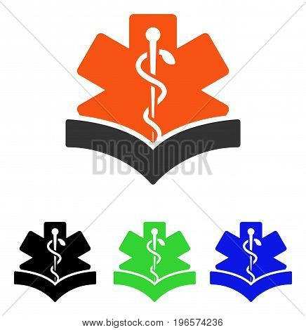 Medical Knowledge vector pictograph. Illustration style is a flat iconic colored symbol with different color versions.