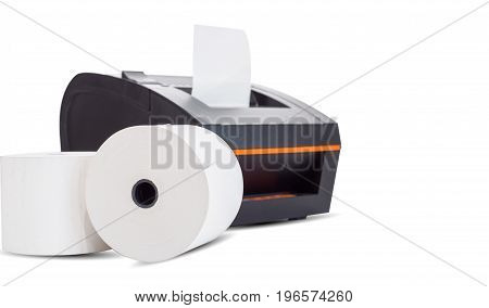 Office equipment A point of sale receipt printer printing a receipt on white background