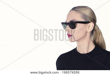 Black classic sun glasses, isolated portrait  shot