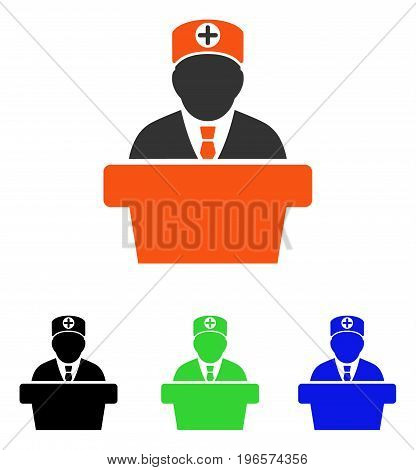 Medical Official Lecture vector pictograph. Illustration style is a flat iconic colored symbol with different color versions.