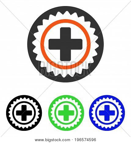 Medical Stamp vector pictogram. Illustration style is a flat iconic colored symbol with different color versions.
