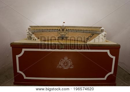 Small Replica Of The Bull Fighting Ring At Seville, Spain, Europe