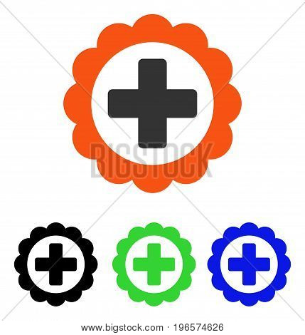 Medical Sticker vector pictogram. Illustration style is a flat iconic colored symbol with different color versions.