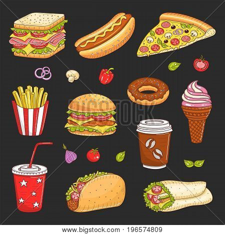 Vector set of fast food hand drawn illustration, with burger, hot dog, sandwich, hamburger, wrap sandwich, soda cup, ice cream, pizza, French fries, donut, coffee cup, taco isolated on black