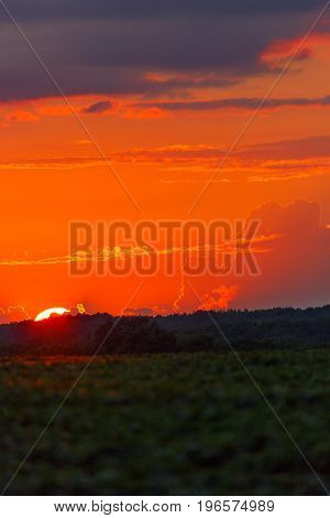 Wisconsin colorful sunset over farmland in July