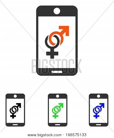Mobile Dating vector pictograph. Illustration style is a flat iconic colored symbol with different color versions.