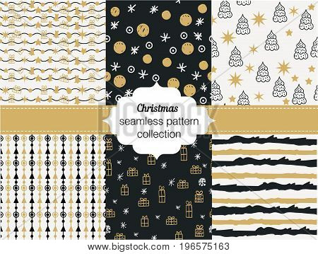 Collection of seamless patterns. Merry Christmas and Happy New Year Set of seamless backgrounds with traditional symbols: snowflakes, pine tree, gifts