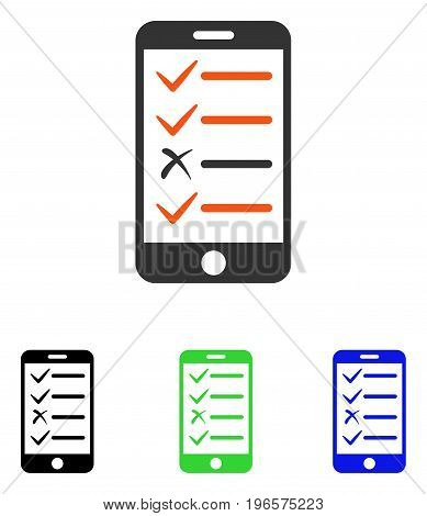 Mobile Test vector icon. Illustration style is a flat iconic colored symbol with different color versions.