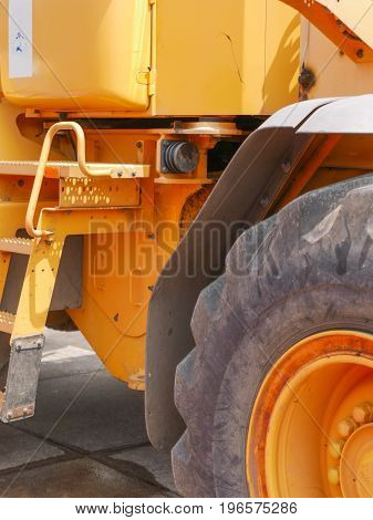large yellow heavy machinery loader for construction